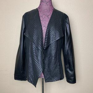 Chico's  Black Pleather Combo Open Jacket